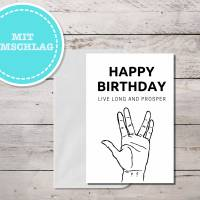 Star Trek inspirierte Geburtstagskarte Spock Gruß, sofort Download mit Umschlag als PDF Bild 2