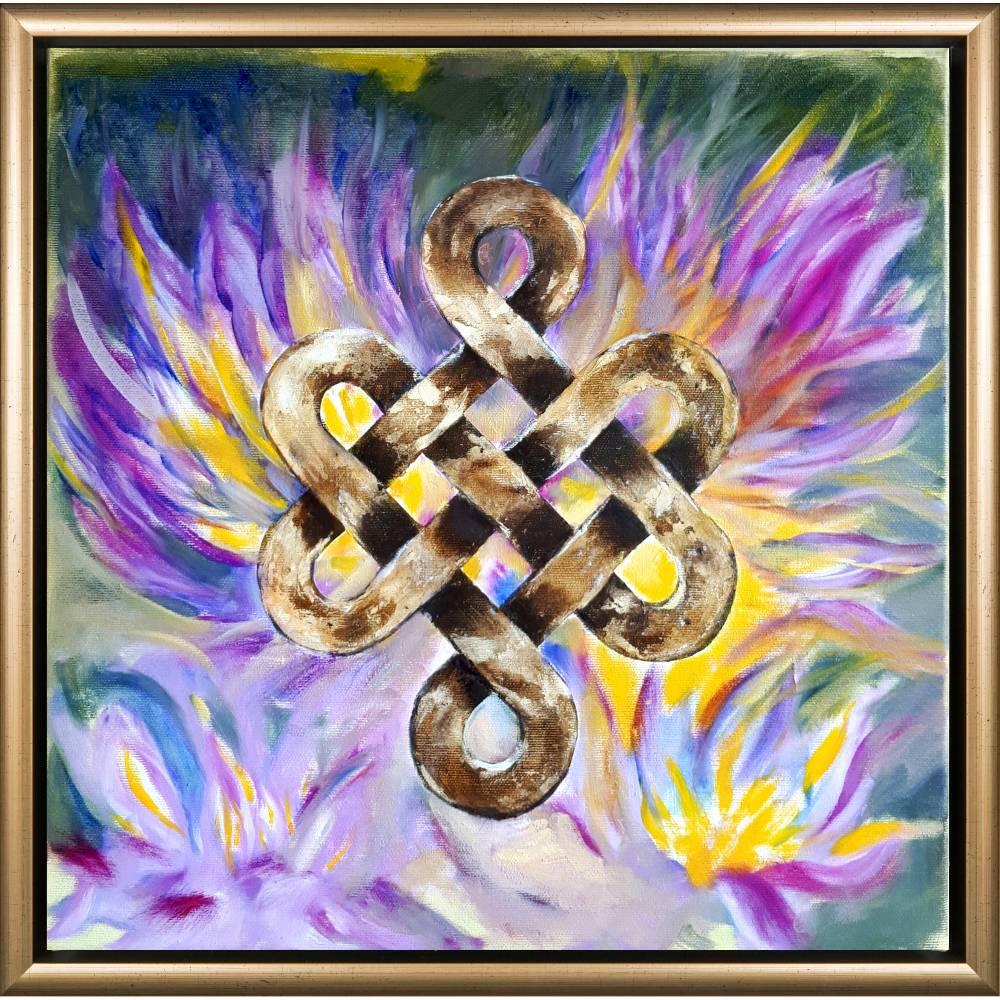 Shrivatsa - Unendlicher Knoten - Original Ölmalerei, gerahmt Bild 1