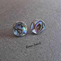 Ohrstecker Abalone Paua Perlmutt Muschel Ohrringe rund Regenbogen Farbe Perlmuttohrstecker Perlmuttohrringe Bild 1