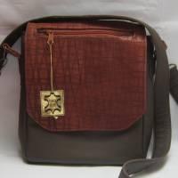Braune Ledertasche für Frauen und Männer mit ungewöhnlicher Taschenklappe, Nappaleder, Crossbody-Bag, Handarbeit Bild 1