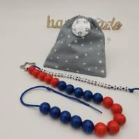 Rechenkette ABC-Kette zur Einschulung mit Geschenkbeutel und Namensbutton Bild 3
