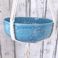 Schale zum hängen, Makramee, Blumenampel  Keramik handbemalt Bild 1
