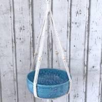 Schale zum hängen, Makramee, Blumenampel  Keramik handbemalt Bild 4