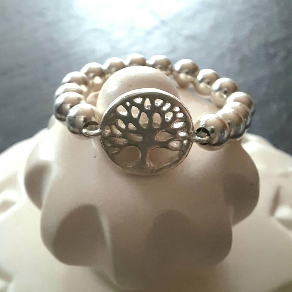 Silberring Perlenring mit Baum des Lebens, 925 Silber  Bild 1