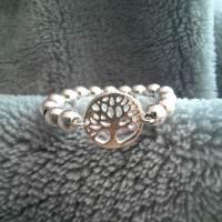 Silberring Perlenring mit Baum des Lebens, 925 Silber  Bild 2