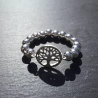 Silberring Perlenring mit Baum des Lebens, 925 Silber  Bild 3