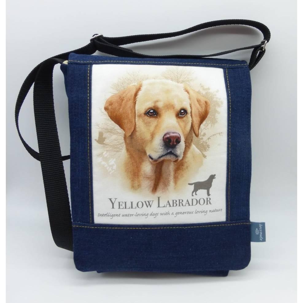 Jeanstasche Yellow Labrador, Gassitasche, Upcycling-Unikat hessmade, individualisierbar Bild 1