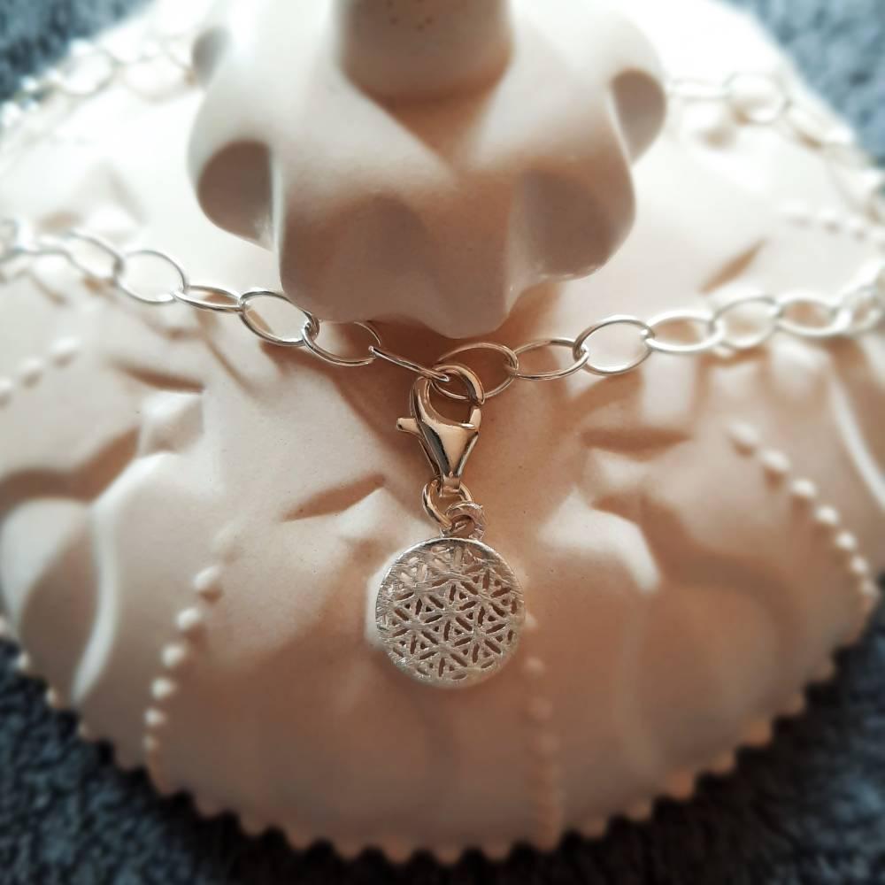 Stylisches Armband oder Fußkettchen mit Charm Blume des Lebens, 925 Silber Bild 1