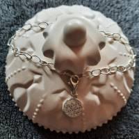 Stylisches Armband oder Fußkettchen mit Charm Blume des Lebens, 925 Silber Bild 4