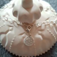 Stylisches Armband oder Fußkettchen mit Charm Blume des Lebens, 925 Silber Bild 5