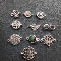 Stylisches Armband oder Fußkettchen mit Charm Blume des Lebens, 925 Silber Bild 7