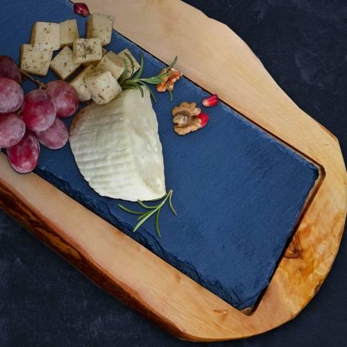 Servierbrett aus Schiefer & mediterranem Olivenholz für Käse, Obst, Wurst zum Servieren – Schneidebrett Käsebrett Küchen