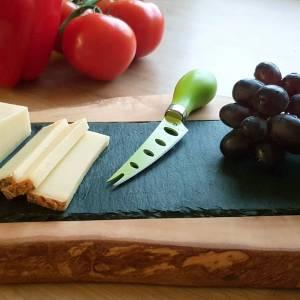 Servierbrett aus Schiefer & mediterranem Olivenholz für Käse, Obst, Wurst zum Servieren – Schneidebrett Käsebrett Küchen Bild 3