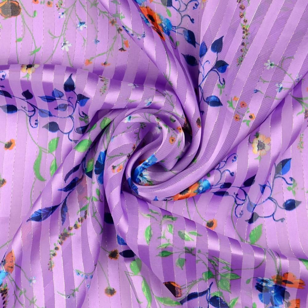 Chiffon mit Lurex Streifen Frühlings-/Sommerstoff  flieder (1m/10,-€) Bild 1