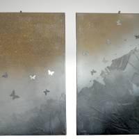 """Modernes zweiteiliges Acryl-Gemälde, Gold-Silber-Anthrazit, """"BUTTERFLY"""" Bild 1"""