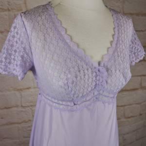True Vintage Zart Nachtkleid Spitzenhemd Rösch Größe 36 S Flieder Spitze Nachthemd Bild 1