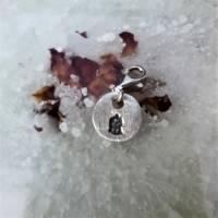 runder Anhänger Charm Buddha aus 999 Silber, patiniert Bild 1