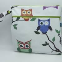 Wetbag, Wachstuch, Eulen, Windeltasche, Nasstasche mit 2 Reißverschlusstaschen für Nass-und Trockenwäsche/Ersatzkleidung Bild 1