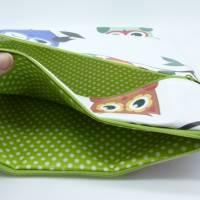 Wetbag, Wachstuch, Eulen, Windeltasche, Nasstasche mit 2 Reißverschlusstaschen für Nass-und Trockenwäsche/Ersatzkleidung Bild 4