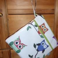 Wetbag, Wachstuch, Eulen, Windeltasche, Nasstasche mit 2 Reißverschlusstaschen für Nass-und Trockenwäsche/Ersatzkleidung Bild 6