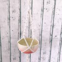 Schale zum hängen, Makramee, Blumenampel  Keramik handbemalt Bild 2
