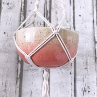 Schale zum hängen, Makramee, Blumenampel  Keramik handbemalt Bild 3