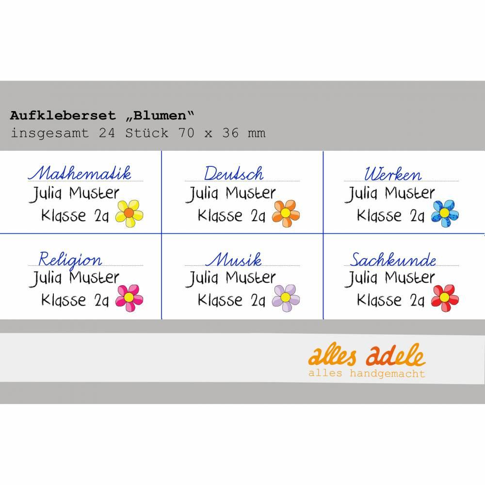 Heftaufkleber für die Schule mit Namen 24 Stk. - Blumen   Personalisiert Bild 1
