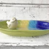 Vogeltränke/Schale mit Vögelchen aus Keramik , handbemalt Bild 3