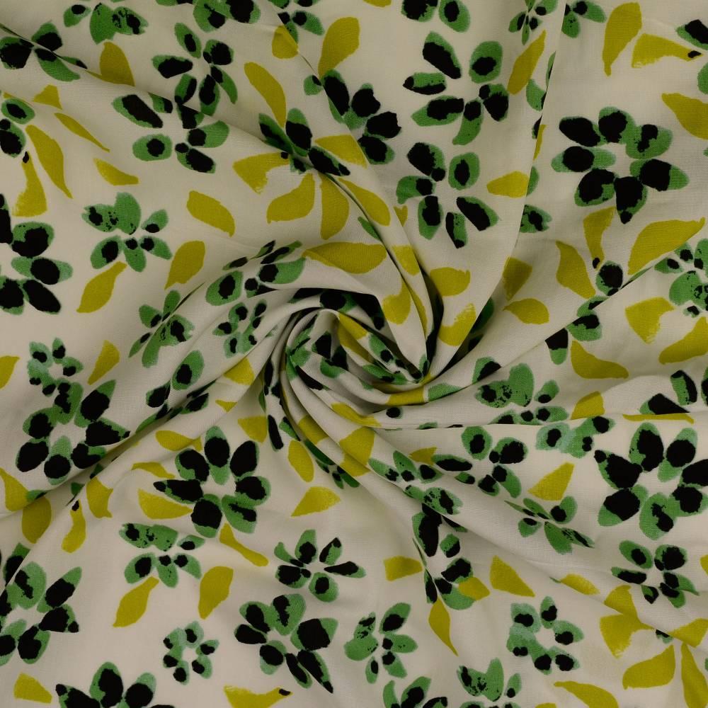 Viskose, leichter Frühlings-/ Sommerstoff Blüten Blumen weiß (1m/10,-€) Bild 1