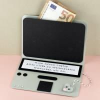 Geldgeschenk Mini Laptop Karte Notebook PC für alle Anlässe Gutschein Computer individualisierbar Bild 1