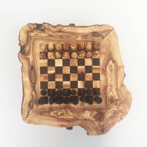 Schachspiel rustikal, Schachtisch Gr. M inkl. Schachfiguren, handgefertigt aus Olivenholz, Geschenk. Bild 2