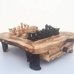 Schachspiel rustikal, Schachtisch Gr. M inkl. Schachfiguren, handgefertigt aus Olivenholz, Geschenk. Bild 4