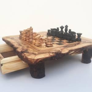 Schachspiel rustikal, Schachtisch Gr. M inkl. Schachfiguren, handgefertigt aus Olivenholz, Geschenk. Bild 6