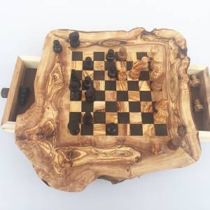 Schachspiel rustikal, Schachtisch Gr. M inkl. Schachfiguren, handgefertigt aus Olivenholz, Geschenk. Bild 9