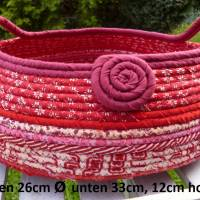 Großer Rope Bowl Korb, rot, weinrot, Patchwork, Dekokorb, Utensilo, Seilkorb, Stoffkorb, Basket, Boho Bild 1