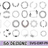 Plotterdatei Kranz Rahmen Umrandung SVG DXF PDF SVG Bild 1