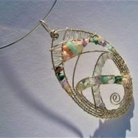 Großer Anhänger Unikat handgemacht am Reif mit Fluorit, Koralle, Aquamarin pastell mint lila in wirework boho Bild 6
