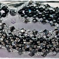 Armband in schwarz und silber mit Swarovski Kristallen und Swarovski Perlen  Magnetverschluss. Handarbeit. Unikat Bild 2