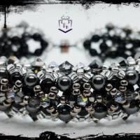 Armband in schwarz und silber handgefertigt mit Austrian Crystal Elements und Miyuki Perlen, Handarbeit. Einzelstück Bild 3