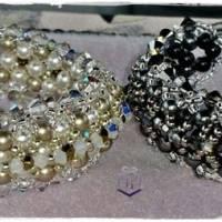 Armband in schwarz und silber mit Swarovski Kristallen und Swarovski Perlen  Magnetverschluss. Handarbeit. Unikat Bild 4