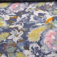 Baumwoll Viskose Druck Garten  Blumen blau (1m/10,-€) Bild 1