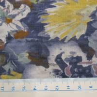 Baumwoll Viskose Druck Garten  Blumen blau (1m/10,-€) Bild 2