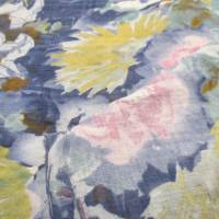 Baumwoll Viskose Druck Garten  Blumen blau (1m/10,-€) Bild 3