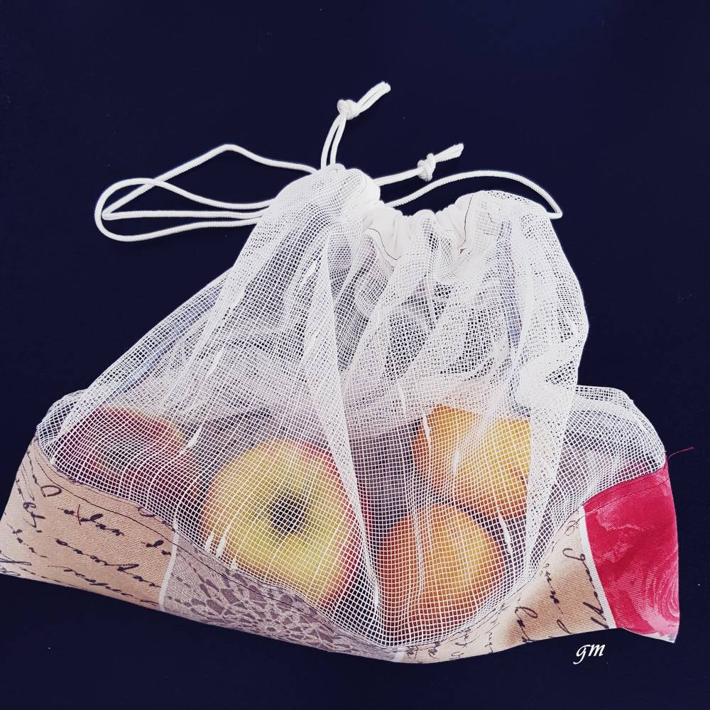 Als Obstbeutel oder Kartoffelnetz, wiederverwendbar und nachhaltiger Stoffbeutel Bild 1