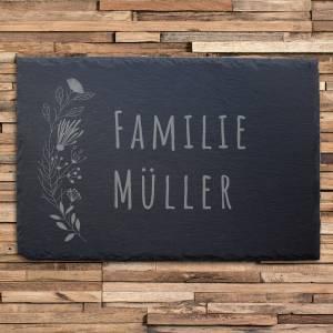 """Türschild aus Schiefer (30x20cm) mit dem Motiv """"MÜLLER"""" – Gravur mit Familie Name Adresse Schild individuell persona Bild 1"""