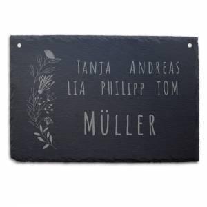 """Türschild aus Schiefer (30x20cm) mit dem Motiv """"MÜLLER"""" – Gravur mit Familie Name Adresse Schild individuell persona Bild 2"""