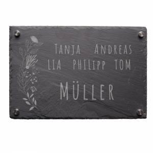 """Türschild aus Schiefer (30x20cm) mit dem Motiv """"MÜLLER"""" – Gravur mit Familie Name Adresse Schild individuell persona Bild 4"""