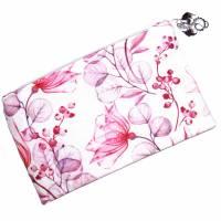 """Täschchen """"Rote Blüten"""" aus Baumwolle mit Reißverschluss - Maskentasche Etui Kosmetiktasche Kulturtasche Bild 1"""