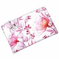 """Täschchen """"Rote Blüten"""" aus Baumwolle mit Reißverschluss - Maskentasche Etui Kosmetiktasche Kulturtasche Bild 2"""
