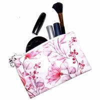 """Täschchen """"Rote Blüten"""" aus Baumwolle mit Reißverschluss - Maskentasche Etui Kosmetiktasche Kulturtasche Bild 4"""